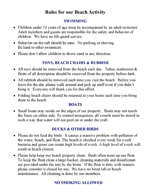Rules for our Beach Activity